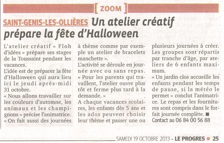 article Progrès 19 octobre 2013